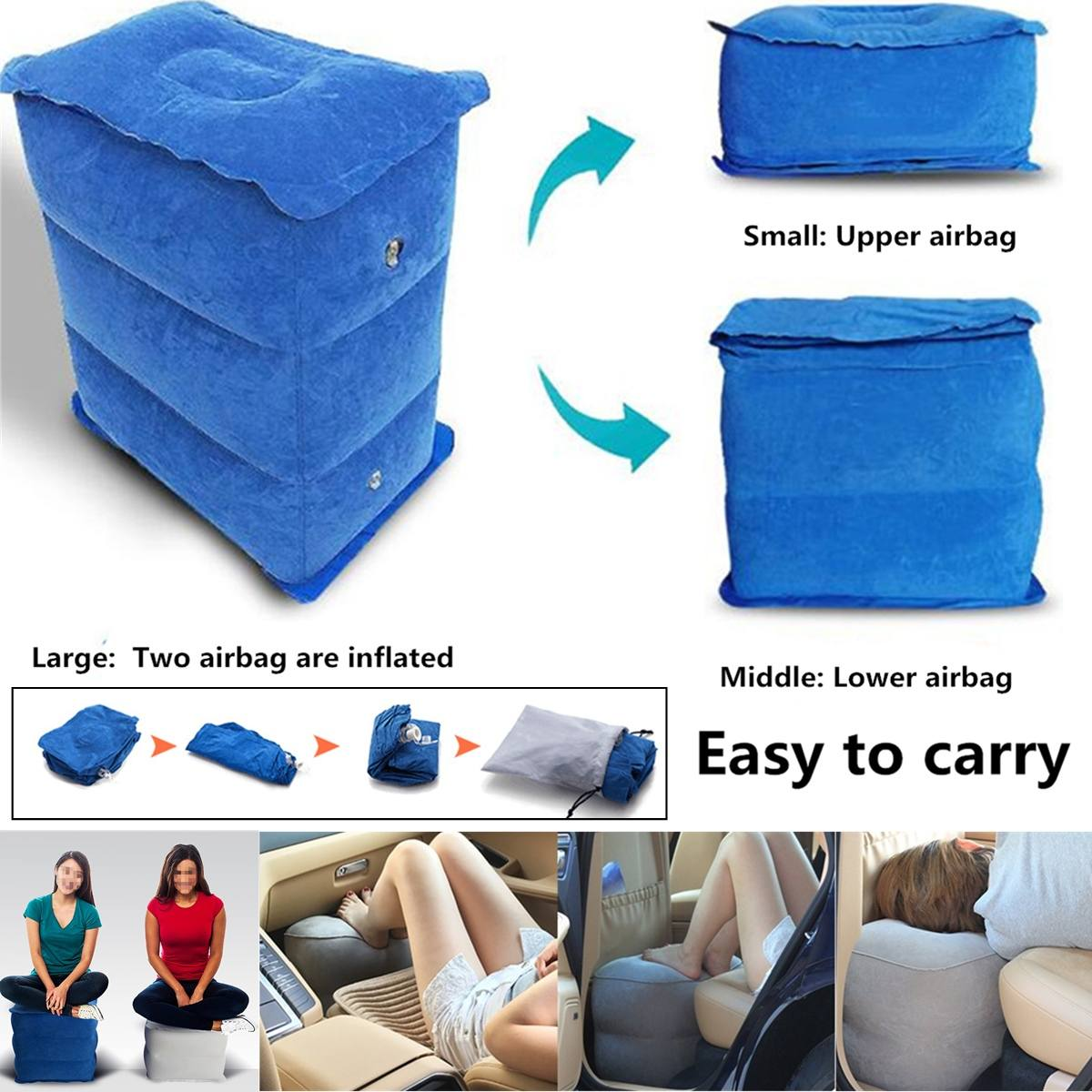 3 Layers Bean Bag Lazy Chair Travel Foot Rest Pillow
