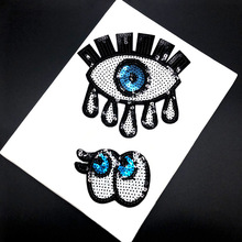 Sequined Eye Embroidery Cloth Sticking Clothing Decoration Accessory Back Glue Patch Pillow Repair Subsidy Stamp