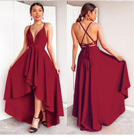 Women Sexy High Low Cross Back Cocktail Dresses Sexy Burgundy A line Deep V neck Spaghetti Straps Chiffon Short Formal Dresses