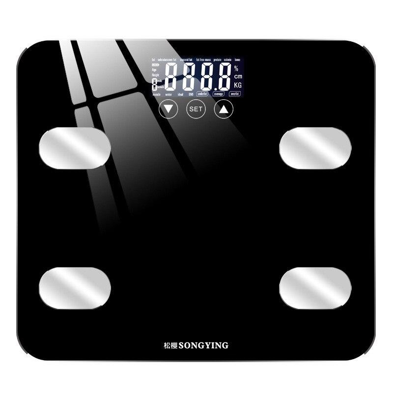 Balance de graisse corporelle verre trempé affichage de LED électronique intelligent charge numérique USB pesant balance de poids numérique