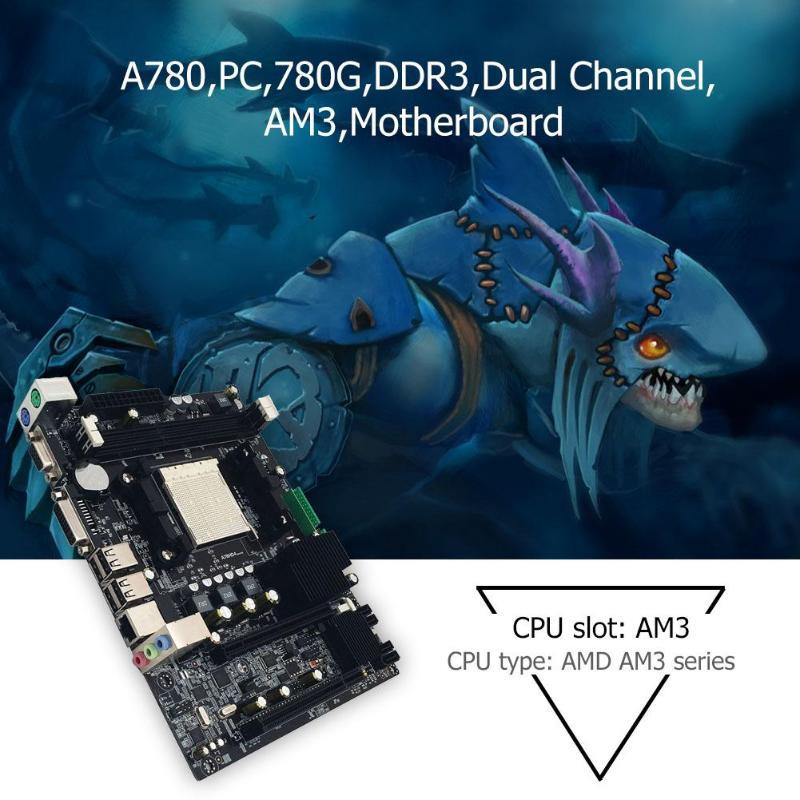 A780 PC Desktop Computer Motherboard 780G DDR3 Dual Channel AM3 RT8105E PCI E X16 100M Ethernet