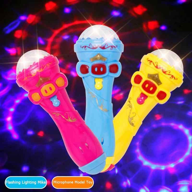 Flashing Projector Microphone Model Lighting Toys Wireless Music Karaoke Micro Kids Toy Gift Creative Funny Dynamic Shine New