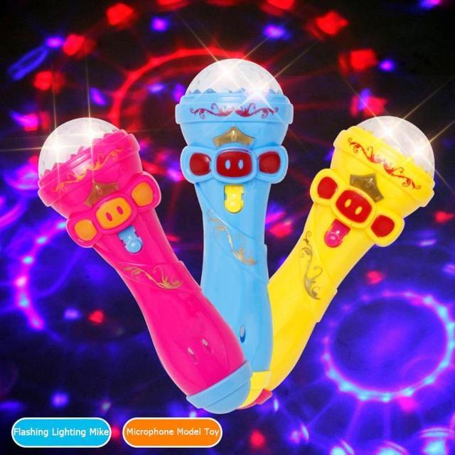 Flashing Projector Microphone Model Lighting Toys Wireless Music Karaoke Micro Kids Toy Gift