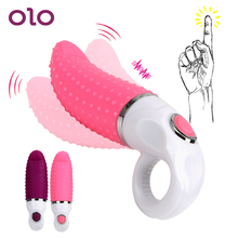 OLO Oral Licking Tongue Vibrators Dildo G-spot Vibrator 12 Speeds Sex Toys for Woman Vagina Massager with Finger Ring