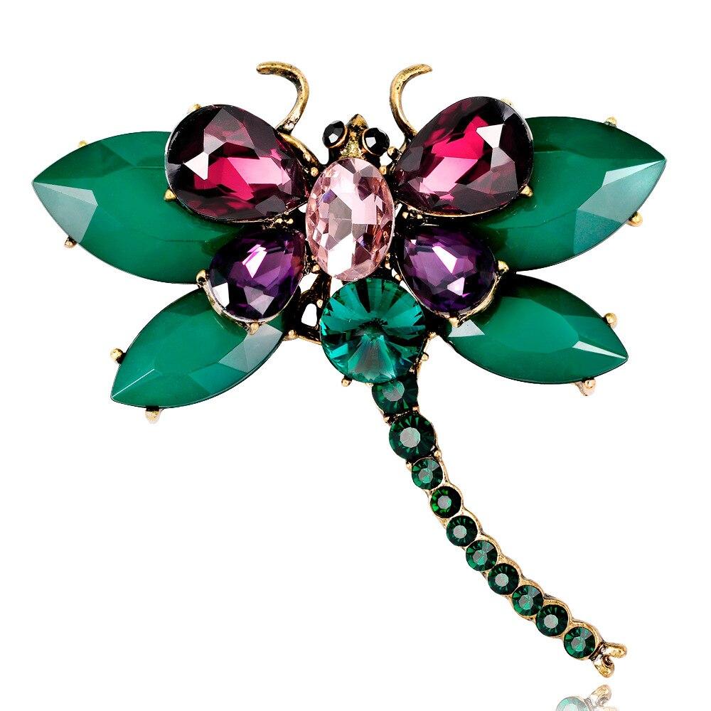 Cindy xiang nova chegada resina colorida grande libélula broches para as mulheres moda elegante strass inseto broche pino bom presente