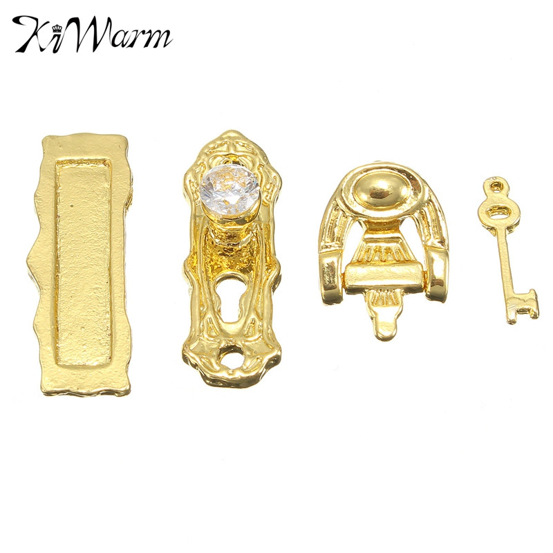 KiWarm 4Pcs/set Miniature Ornament Doll House Miniature Gold Metal Door Lock Knocker Hardware Doorplate Key Decor Crafts Gifts