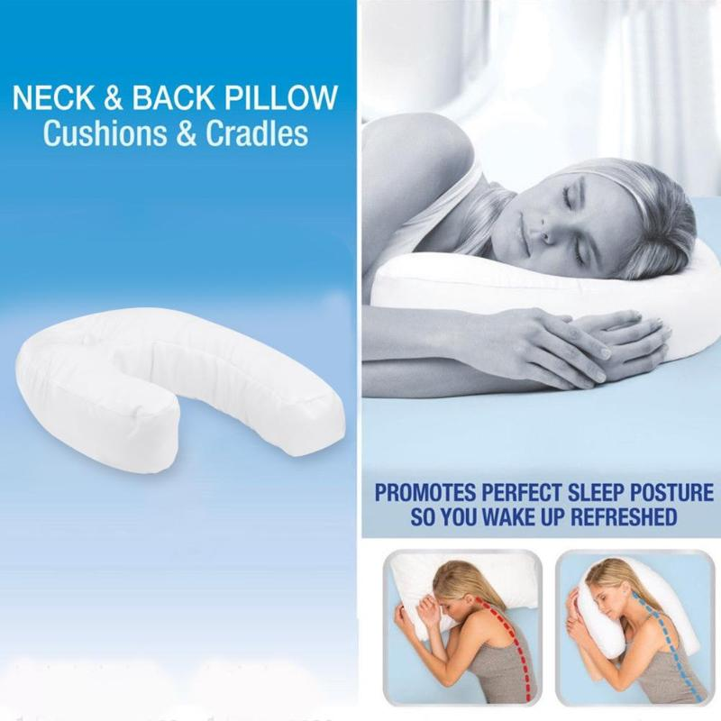 1pc Health Care U Shaped Neck Back Sleep Side Pillow Neck Spine Protection Hold Cushion Hold Neck Spine Protection Cotton Pillow