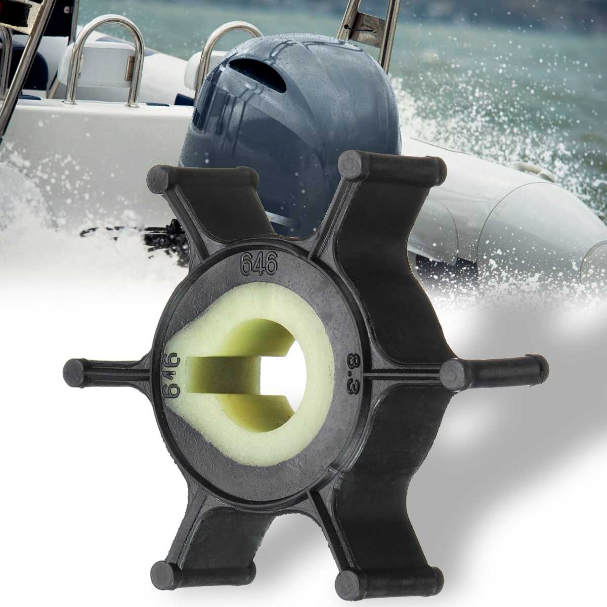 for <font><b>Yamaha</b></font> <font><b>2HP</b></font> Boat <font><b>Outboard</b></font> <font><b>Motor</b></font> 646-44352-01 Replacement Water Pump Impeller for Mariner 47-80395M for Sierra 18-3072 Rubber image
