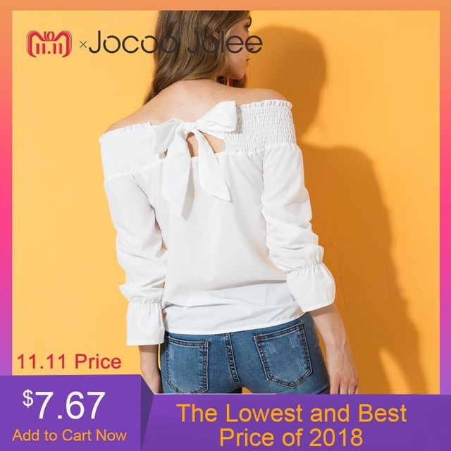 80ffdfbc Jocoo Jolee Sexy Off Shoulder Tops Spring Summer Strapless Women Blouse  Bowknot Slash Neck Shirts Casual Loose Blouses Plus Size