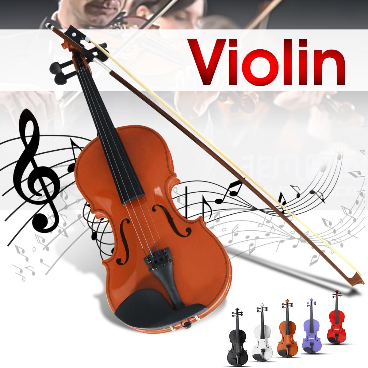 Zebra 4/4 Violino Naturale Acustica Tiglio Viso Bordo Faddle Violino con il Caso Scatola di Colofonia Arco Per Strumenti A Corda Musicale
