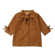 Зимнее теплое шерстяное пальто с бантом для маленьких девочек; Верхняя одежда; куртка; топ с длинными рукавами; милая куртка; От 2 до 8 лет для девочек