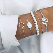 Qiao La 5pcs/set Women Fashion Bracelets Round And Silver Be
