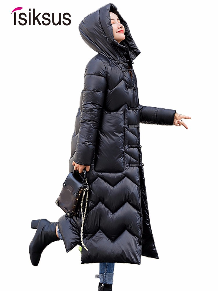 Isiksus Padded Warm Down Jackets Womens Winter Long Large Size Thick Black Hooded Coats Jacket Cotton   Parkas   for Women WP022