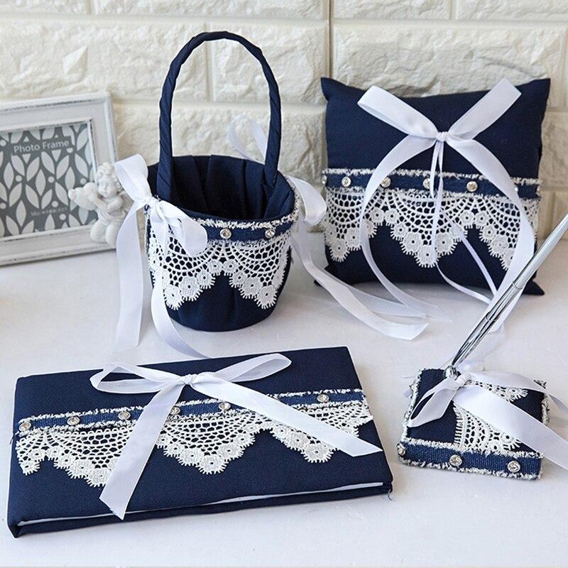 4 pièces/ensemble haut de gamme Vintage dentelle mariage fleur panier & anneau oreiller & livre d'invité & stylo ensemble pour décorations de mariage fournitures de fête
