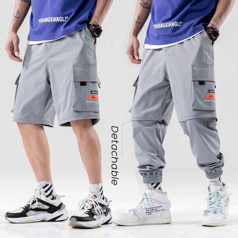 Corredores dos homens de Carga Moda Calções Destacáveis Mutil Pockets Ataduras Pés Casual Calças Harem Sweatpants Hip Hop Dos Ganhos Dos Homens