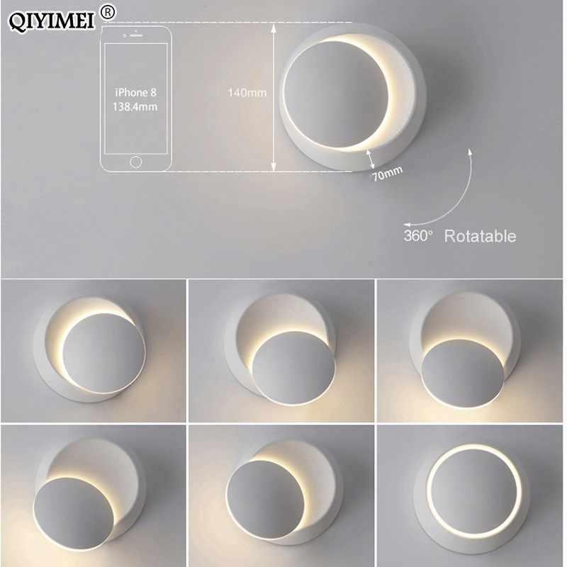 Настенные светильники черный белый корпус для спальни Гостиная 90-260 в настенный светильник Крытый светодиодный настенный светильник вращающийся металлический 5 Вт Светодиодный бра