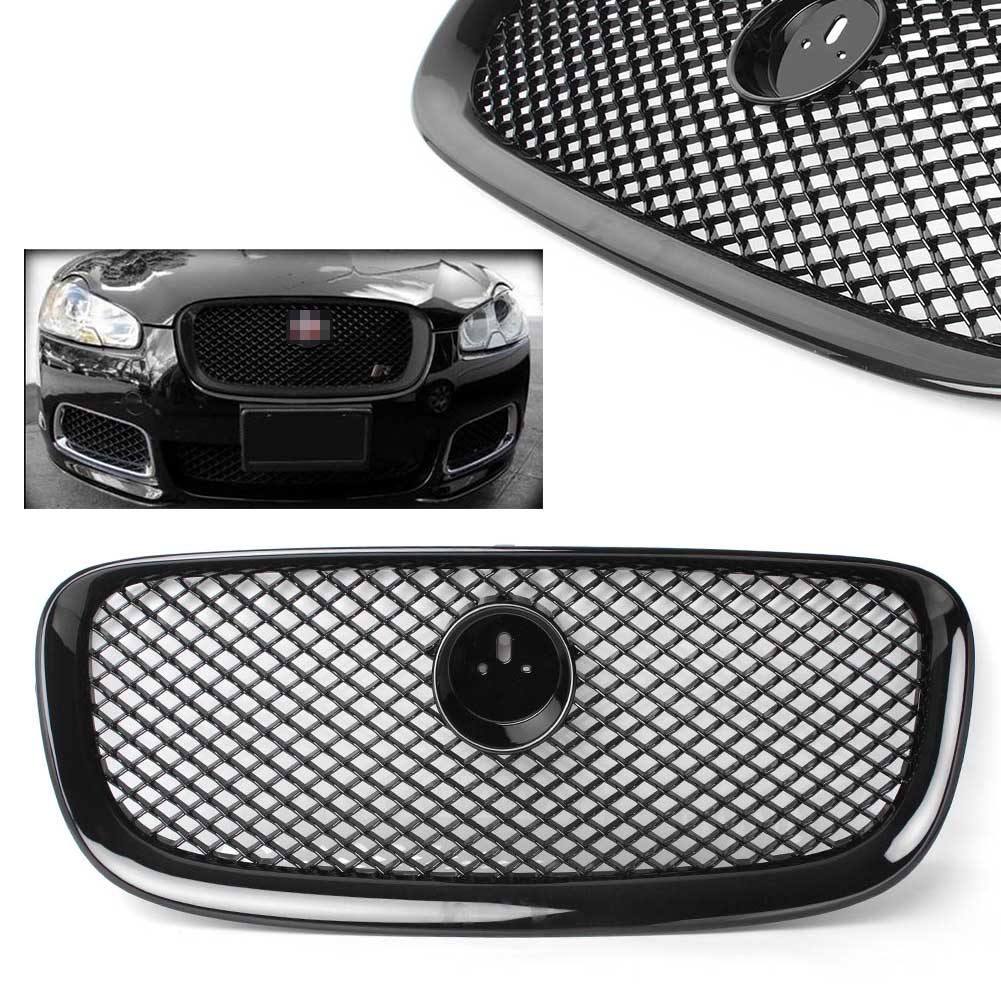 Car Front Upper Mesh Grille Fit Jaguar XF XFR 2012 2013 2014 Gloss Black ABS