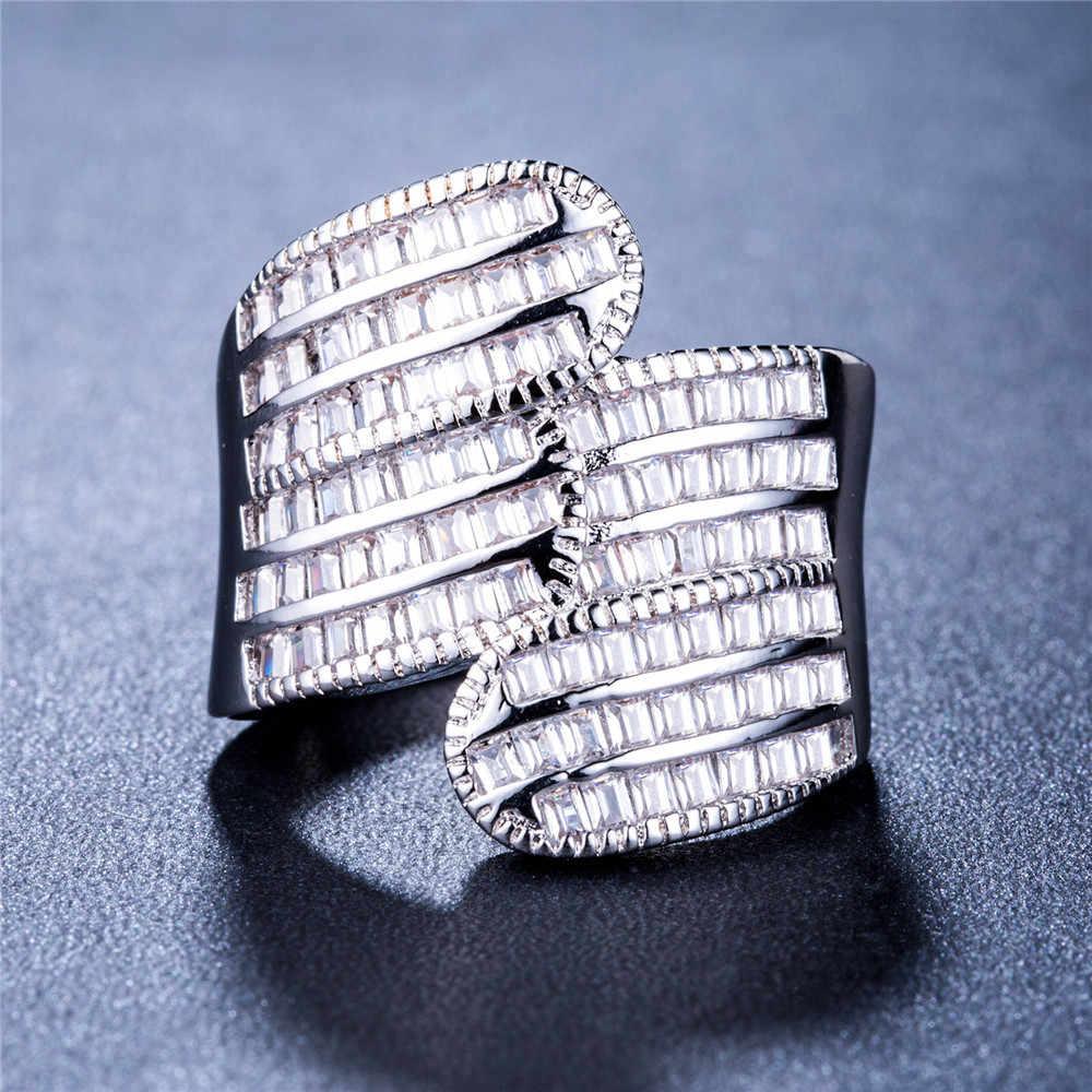 Visisap Deluxe เลดี้มุมปีกแหวนพราว Cubic Zirconia สีขาวทองแหวนแฟชั่นผู้หญิงเครื่องประดับขายส่ง B835