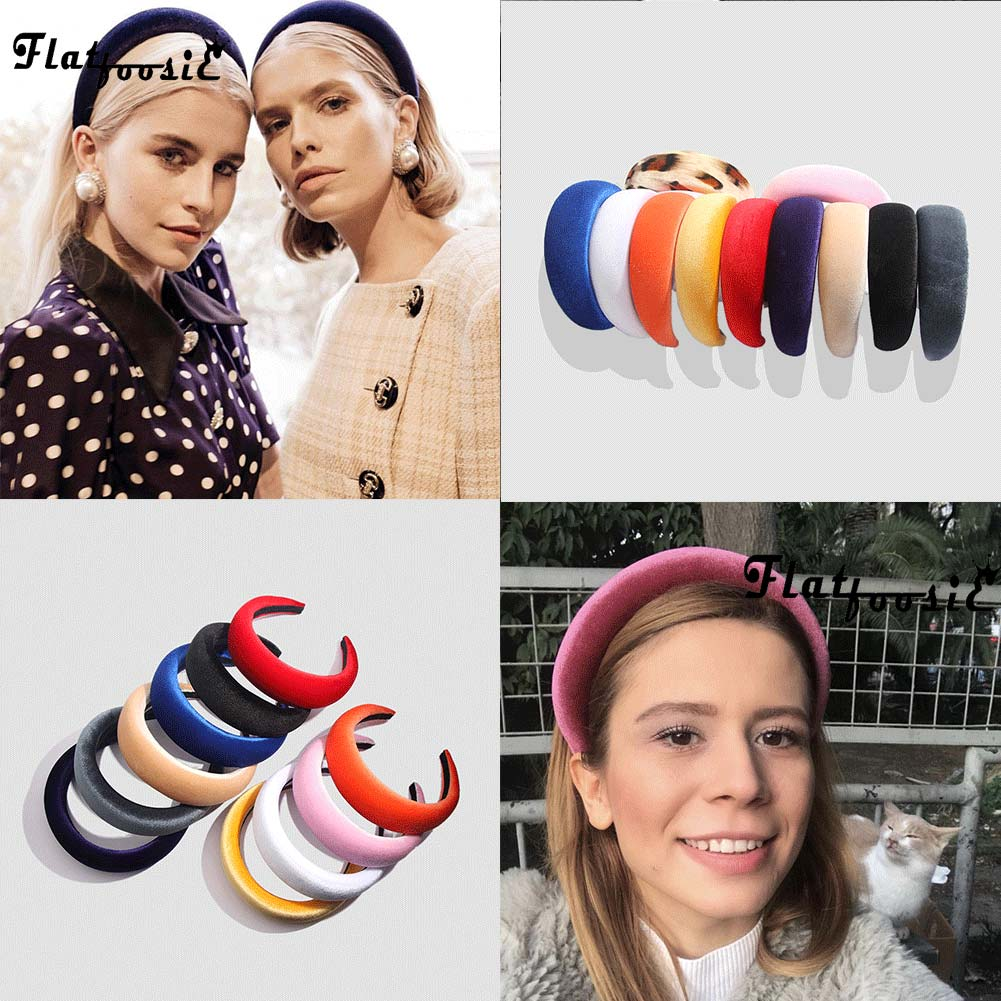 Flatfoosie 2019 Fashion Velvet Thick Headbands Women Head Band   Headwear   Wide Plastic Hairbands Bohemian Fashion Hair Accessories