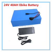 Free customs Free 24V 40Ah Lithium ion Battery For 24 Volt 1000W 700W 500W 350W EBIKE Motor with 50A BMS and charger free