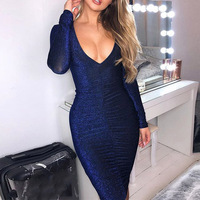 8d6c25ba9a Fashion Women Glitter Sexy V Neck Knee Length Bodycon Dress Classic Casual  Cocktail Party Long Sleeve