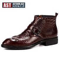 Hot Sale Crocodile Grain Boots Men Full Grain Leather Buckle Belt Office Shoes Zip Retro Pointed Toe Winter Man Boots