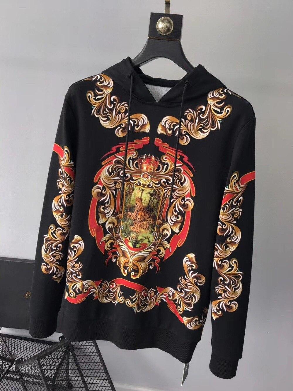 2019 Весна Новое поступление моды цветок цветочный Леопардовый принт Ретро винтажные мужские свитера и толстовки Дизайнерская одежда