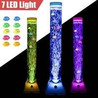 7 LED Color Changing Bubble Lamp Fish Tube Floor Tower Sensory Mood Light Waterproof Aquarium Light Fish Tank Adorn EU Plug 92cm