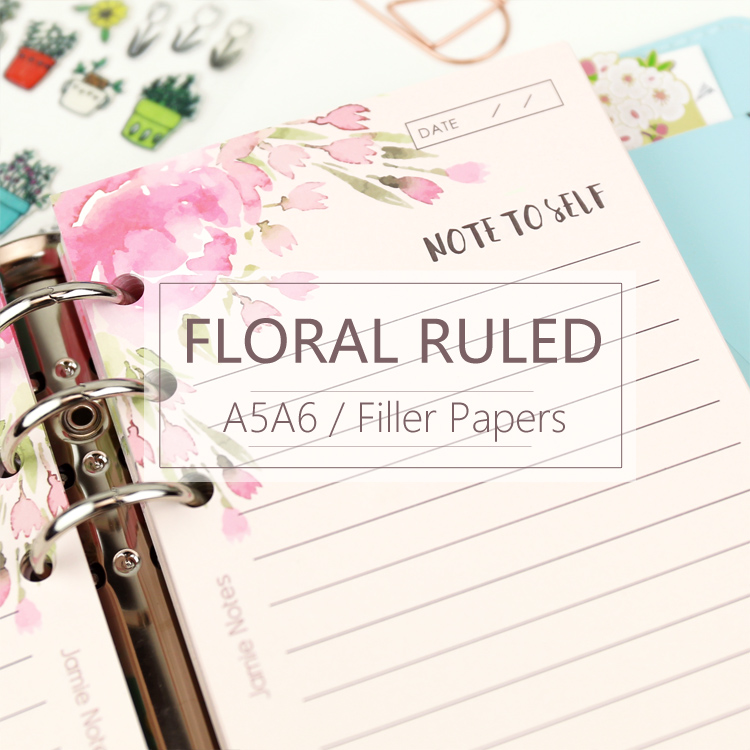MyPretties Pink Floral Ruled Line Refill Papers A5 A6 Filler Papers For 6 Hole Binder Organizer Notebook 40 Sheets Papers