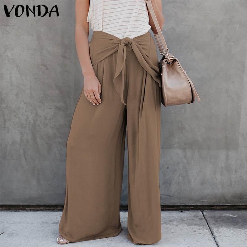 Women   Wide     Leg     Pants   2019 VONDA Autumn Sexy High Waist Bow   Pants   Casual Loose Trousers Female Bottoms Plus Size S-5XL