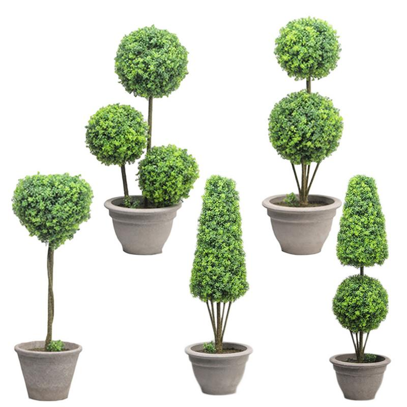 Large Floor Artificial Bonsai Home Interior Living Room Decoration Nordic Ins Fake Green Plant Basin Cement Pot Simple And Fresh