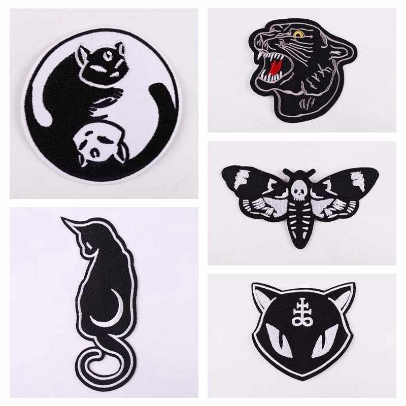 Punk Style Taichi Cats Black Cats Tiger Appliques Ghost Face Moth Patches Iron On Patches Sewing Skull Embroidery Badges