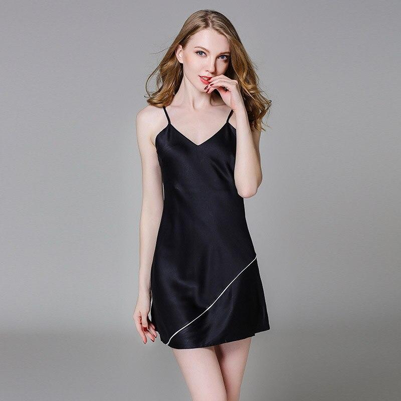 2019 Summer Sexy V-Neck   Nightgown   Silk Satin Strap Mini Nightdress Women   Sleepshirt   Sleeveless Lounge Night Skirt