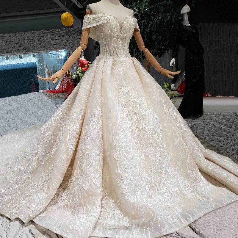 Elegant Lace Gowns Wedding Dresses High Quality Princess Bridal handwork sequins applique