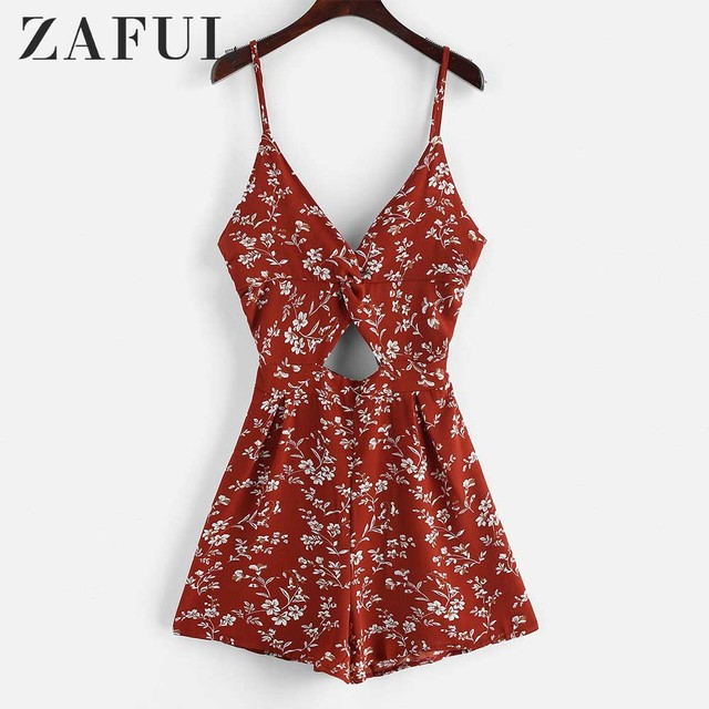 ZAFUL Twist Floral Cut Out Cami Romper Women Vacation Sleeveless Spaghetti Strap Vintage bodysuit Casual Jumpsuit Summer