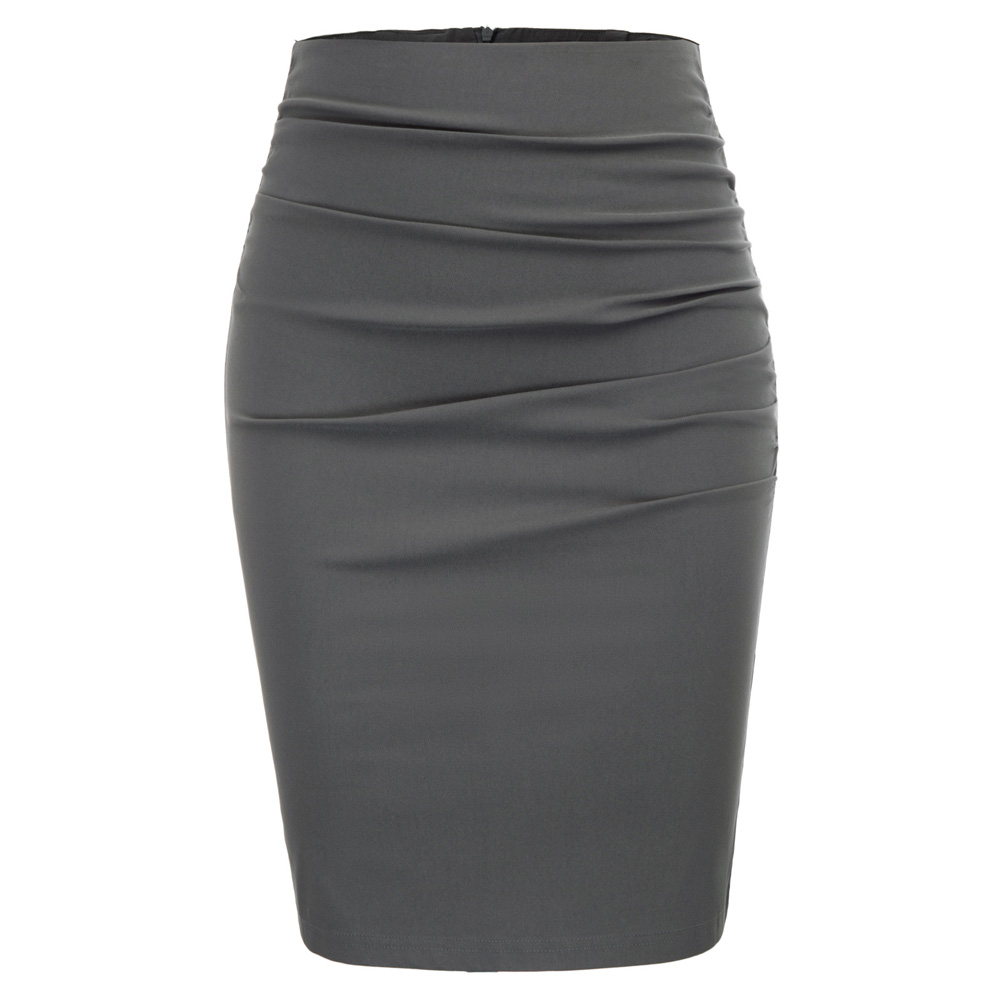 Fashion Women Work Skirts Vintage Solid Color Ruched Front Hips-wrapped Bodycon Pencil Skirt Grey Color