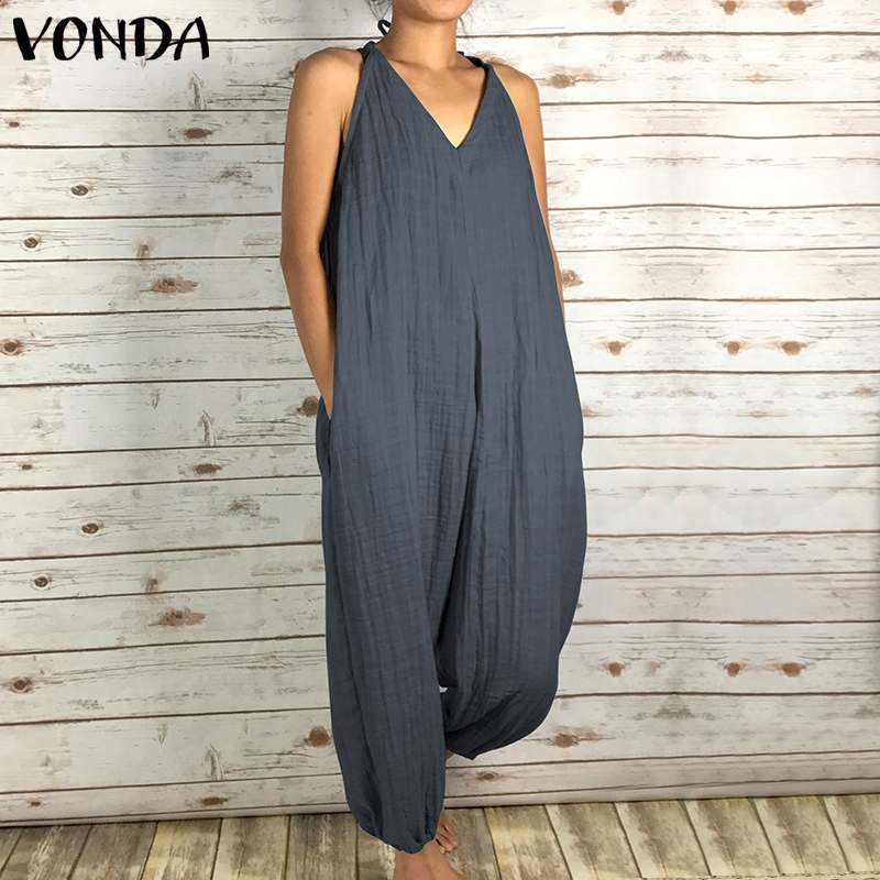 Womens Vintage Rompers   Jumpsuits   2019 Summer Sexy Sleeveless V Neck Back Hollow Solid Long Playsuits Casual Plus Size Overalls