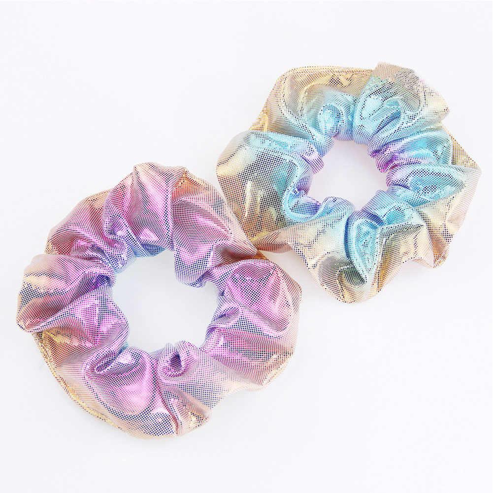 Bronzing Colorful Rainbow Fabric Elastic Hair Rope Scrunchie Glitter Hair Rings Accessories Women Girls Ponytail Holder Headwear