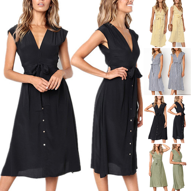 Women Belt Dress Beach Ladies Party Summer Short Sleeves Vintage Cocktail V Neck Casual Buttons Midi A-line Dresses Holiday Wear