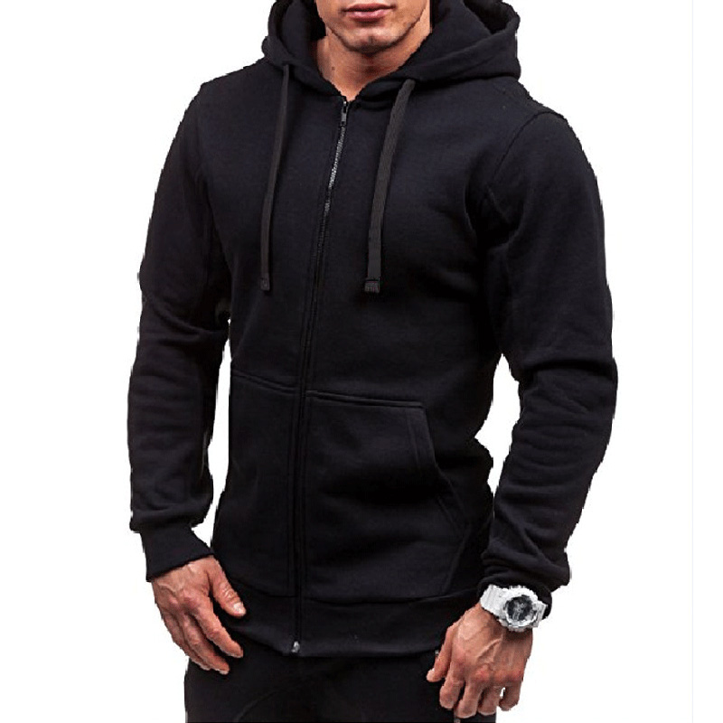 Plus Size Men's Hoodies Tracksuit 2018 Autumn Winter Drawstring Pocket Hooded Sweatshirt Long Sleeve Zip Slim Coat Male Jacket