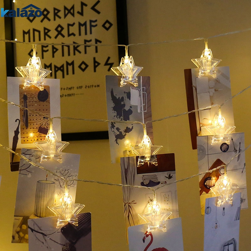 Stars LED Garlands Card Photo Clip String Lights Battery Operated Light Strings Twinkle Decorative Clamp Fairy Light