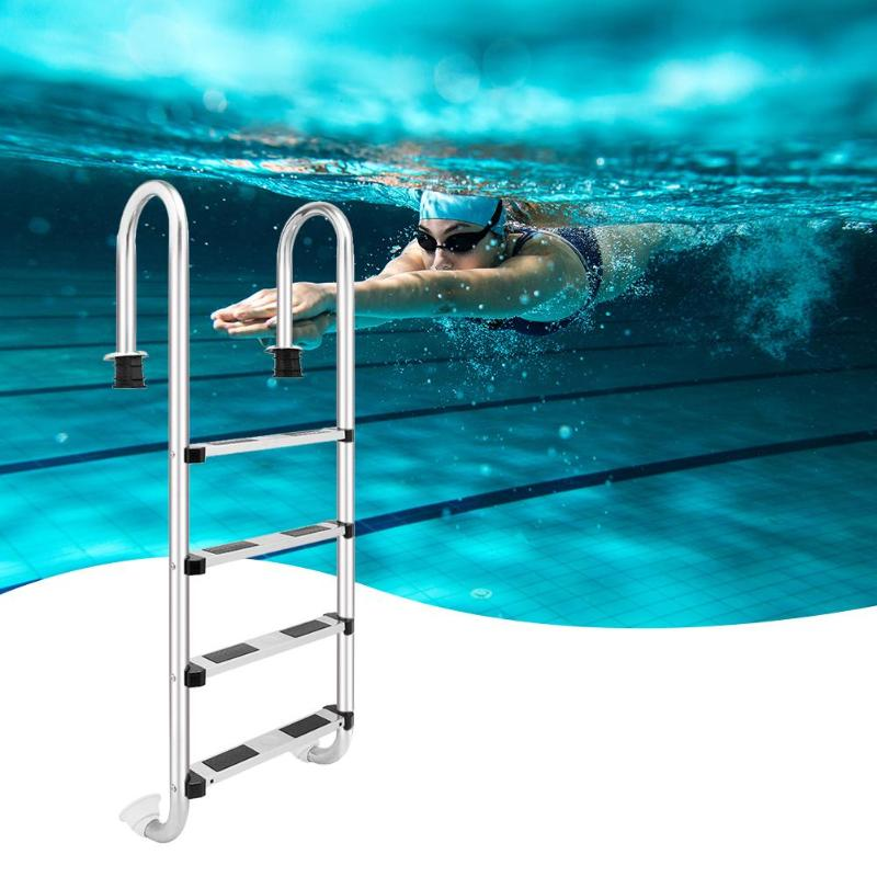 157cm Height 4 Step Stainless Steel Ladder In-Ground Swimming Pool Equipment Anti Skid Ladder Suit157cm Height 4 Step Stainless Steel Ladder In-Ground Swimming Pool Equipment Anti Skid Ladder Suit