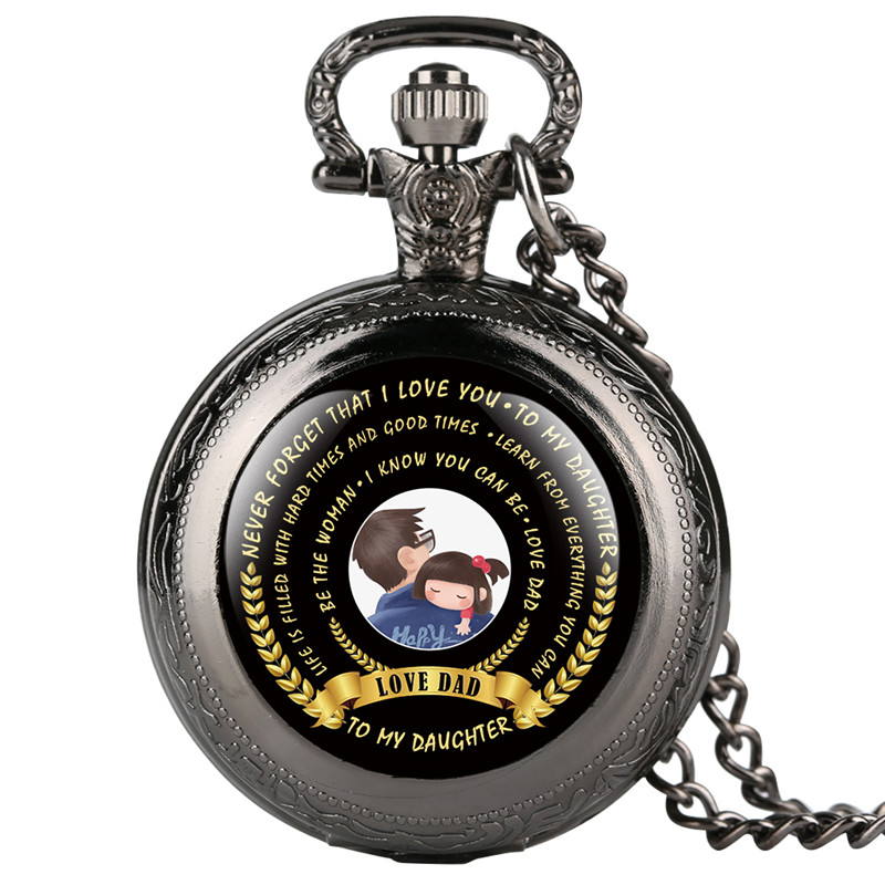 Exquisite Workmanship Pocket Watch For Daughter Love Dad Series Quartz Pocket Watch Retro Gift For Pocket Watch With Necklace
