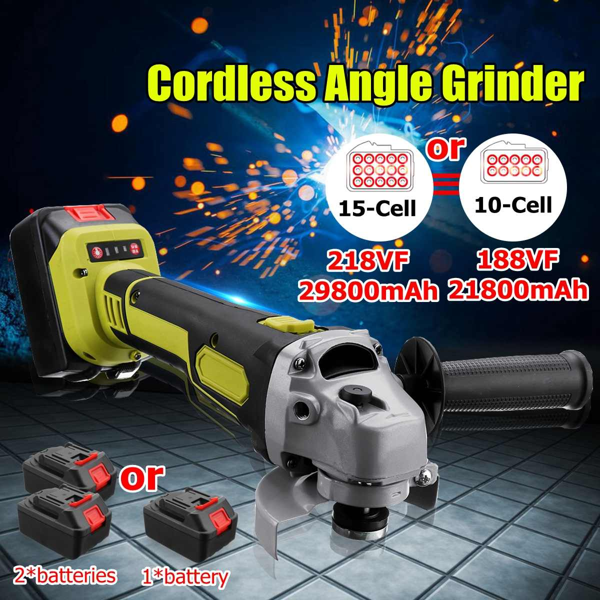 188VF/218VF Electric Angle Grinder Cordless 10/15-cell large capacity battery Polisher Polishing Machine Cutting Tool Set188VF/218VF Electric Angle Grinder Cordless 10/15-cell large capacity battery Polisher Polishing Machine Cutting Tool Set