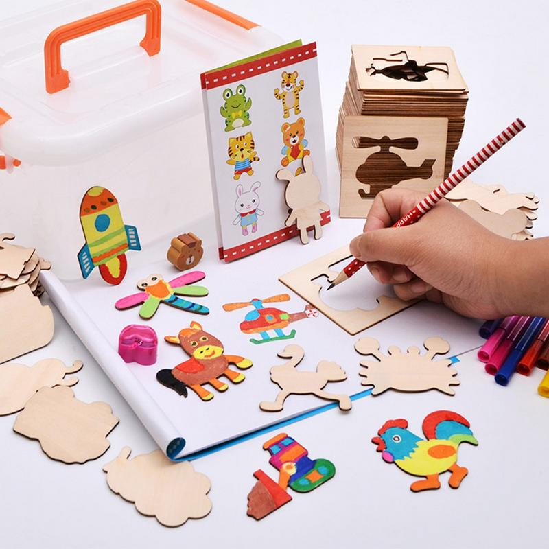 Dziecko kolor kopia malarstwo szablon garnitur drewniane dla dzieci, aby nauczyć się malować zestaw narzędzi do małych dzieci Graffiti urodziny dla dzieci
