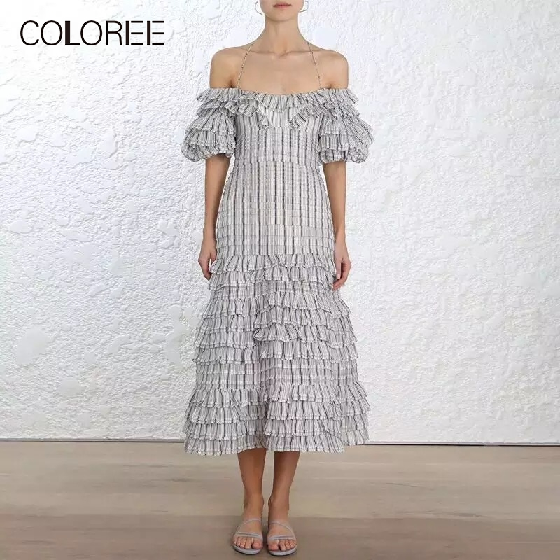 COLOREE High Quality Elegant Gray Stripe Dress 2019 Summer Ruffles Sexy Slash Neck Halter Pleated Dress Vacation Casual Dress