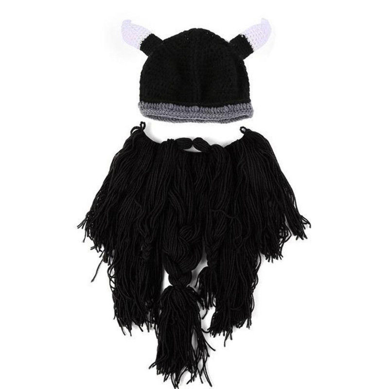 Funny Men/'s Knitted Viking Beard Horn Funny Crazy Ski Cap Cool Beanie Halloween