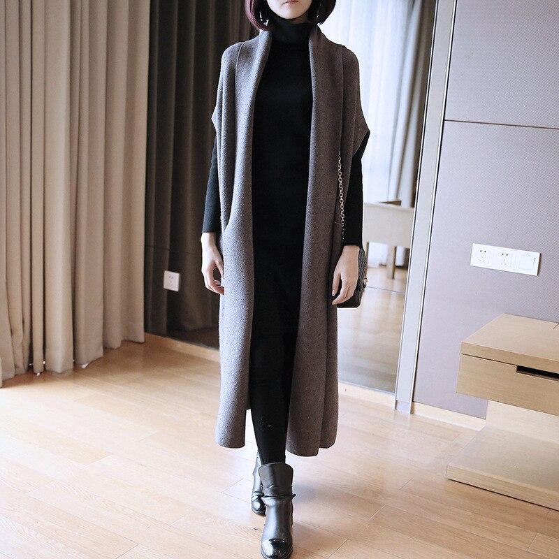 LANMREM 2018 New Fashion Loose High Quality Sleeveless Long Type Waistcoat Female s Casual Knit Vest