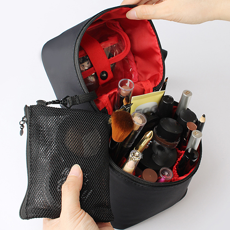 Washable Barrel Shaped Makeup Organizer with Zipper for Women Suitable for Travel and Home Use 2