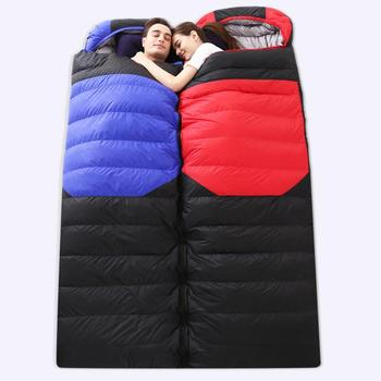 Outdoors Camping Thick Duck Down Sleeping Bag Envelope Style Comfort Soft White Liner Lightweight Portable Waterproof